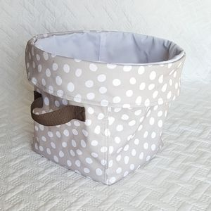Thirty One Storage Tote, Cream/Tan Dots